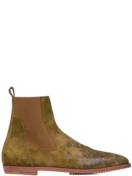 RICK OWENS SS19 BABEL FLAT SQUARE TOE BOOTS IN MUSTARD GREEN HORSE LEATHER