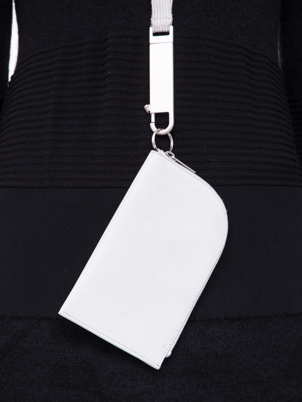RICK OWENS SS19 BABEL CLASSIC NECKWALLET IN OYSTER LIGHT GREY