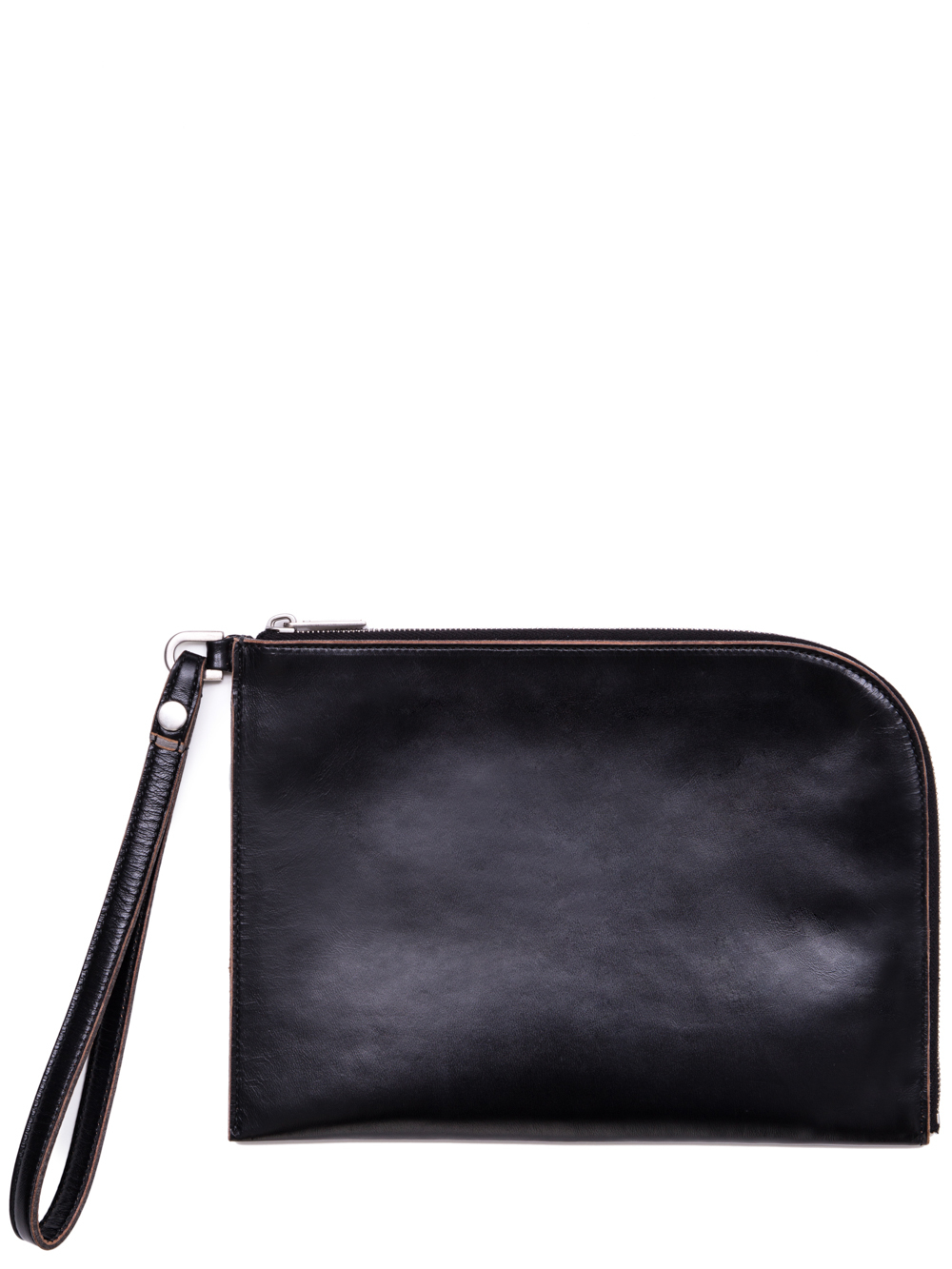 RICK OWENS SS19 BABEL TRAVEL POUCH IN BLACK LEATHER IS RECTANGULAR