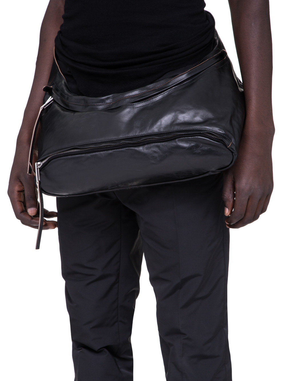 RICK OWENS SS19 BABEL FANNYPACK IN BLACK LEATHER