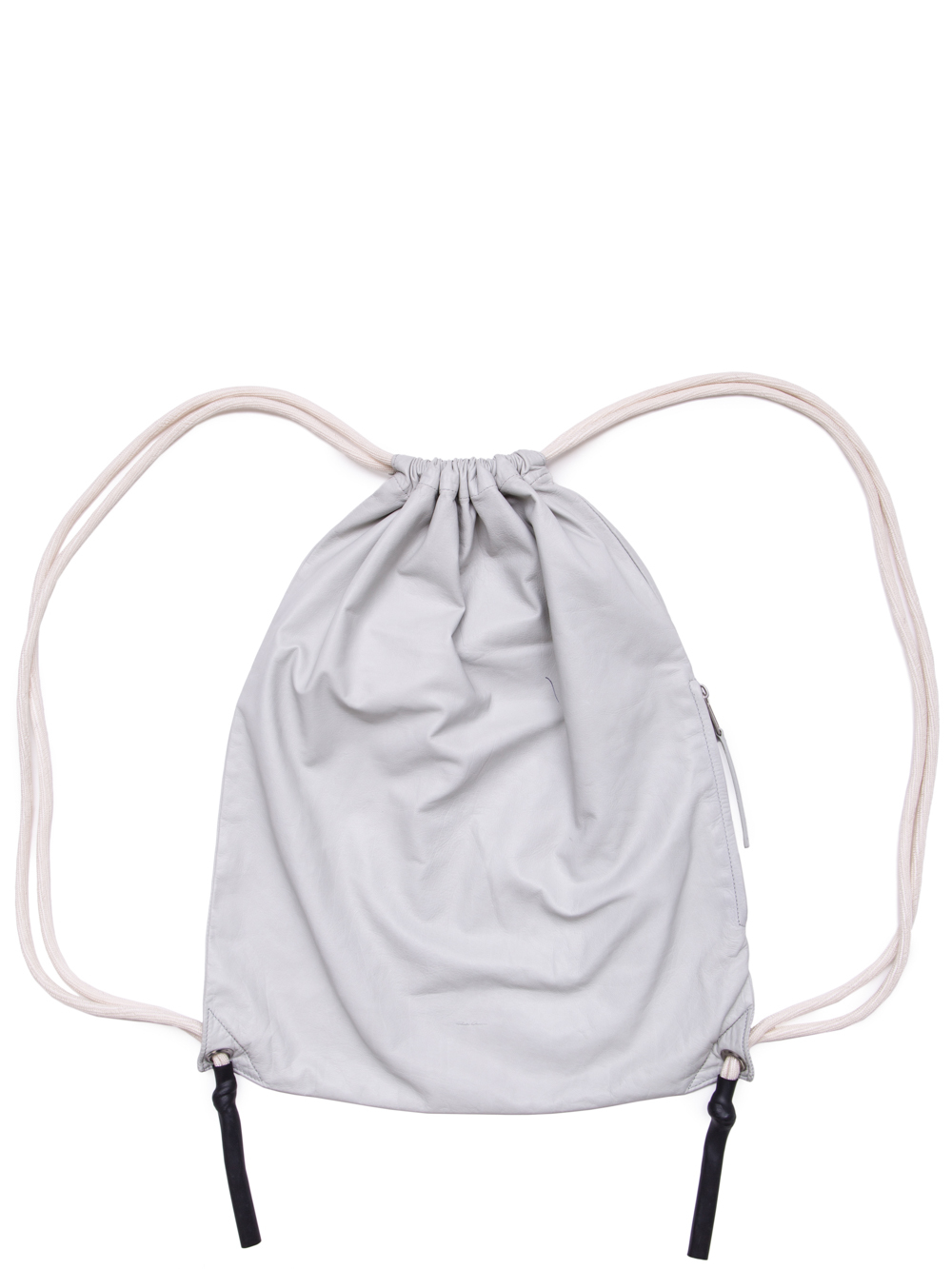 RICK OWENS SS19 BABEL DRAWSTRING BACKPACK IN OYSTER LIGHT GREY BABY CALF LEATHER