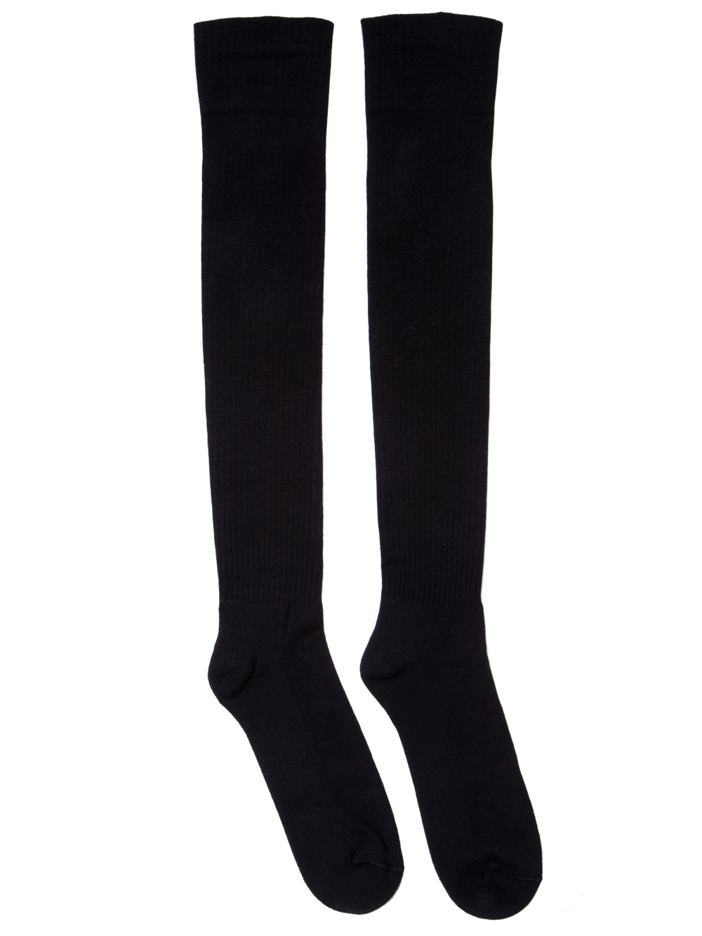 RICK OWENS SS19 BABEL KNEE HIGH SOCKS IN BLACK COTTON