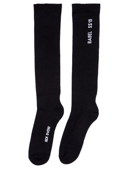 RICK OWENS SS19 BABEL MID CALF SOCKS IN BLACK COTTON
