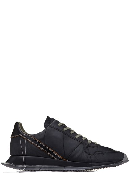 RICK OWENS SS19 BABEL VINTAGE RUNNER LACE UP SNEAKERS IN BLUEJAY BLUE LEATHER