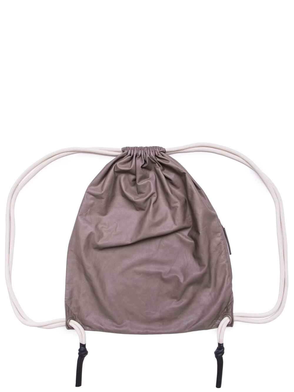 RICK OWENS SS19 BABEL LARGE DRAWSTRING BACKPACK IN DUST GREY BABY CALF LEATHER