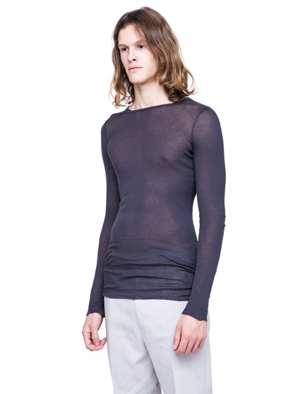RICK OWENS SS19 BABEL LONGSLEEVE RIB TEE IN BLUJAY BLUE MINI RIB COTTON
