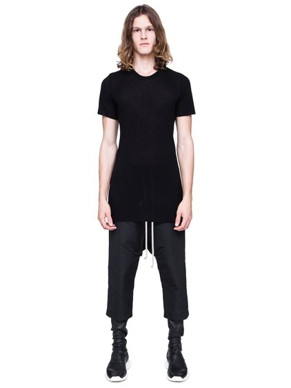 RICK OWENS SS19 BABEL BASIC SHORTSLEEVE TEE IN BLACK VISCOSE SILK