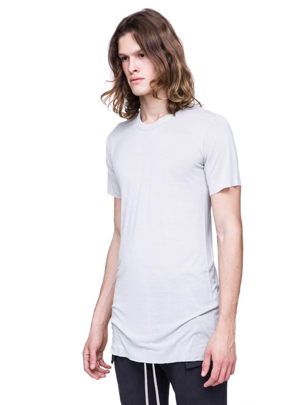RICK OWENS SS19 BABEL BASIC SHORTSLEEVE TEE IN OYSTER LIGHT GREY VISCOSE SILK JERSEY