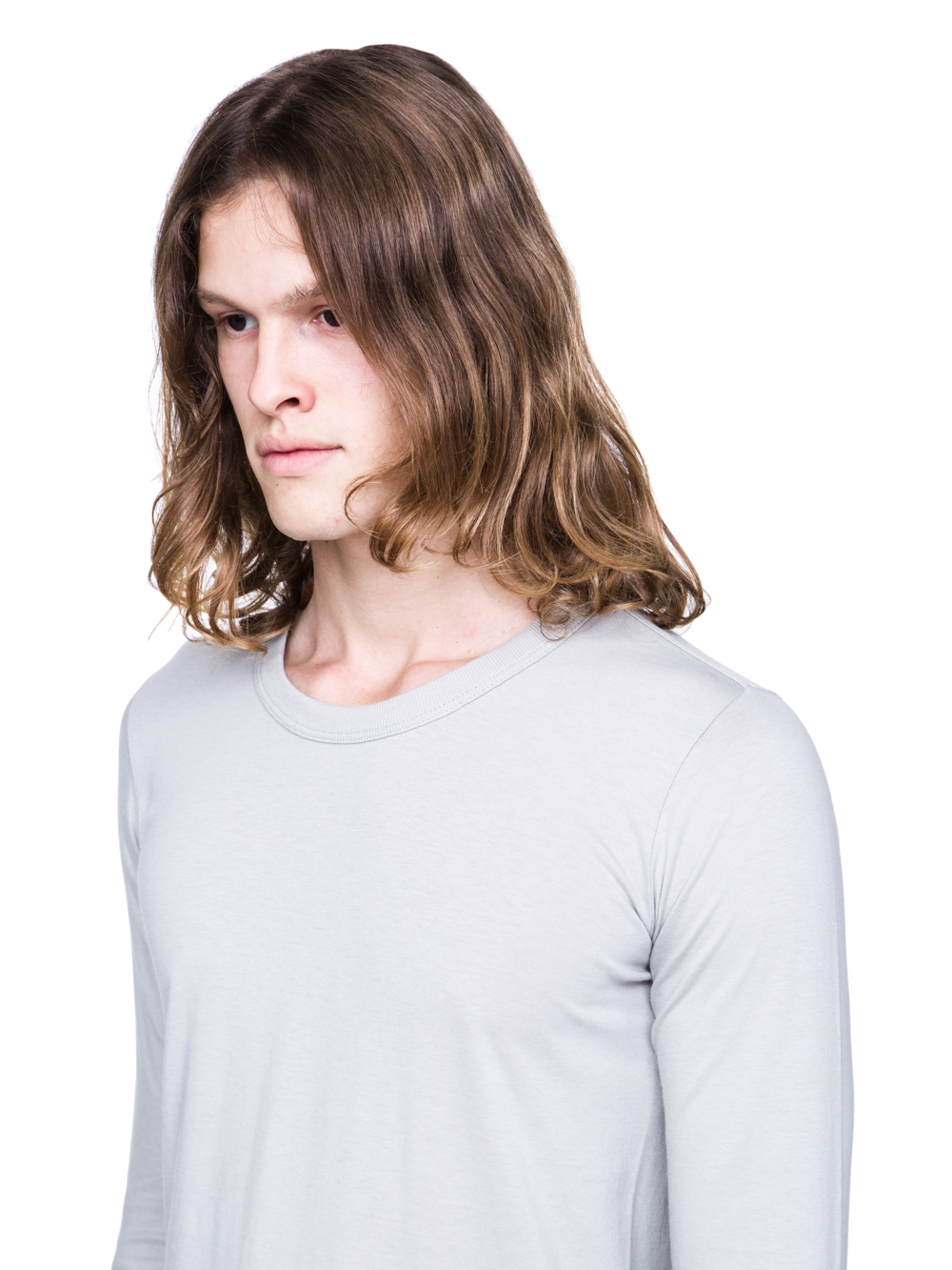 RICK OWENS SS19 BABEL BASIC LONGSLEEVE TEE IN OYSTER
