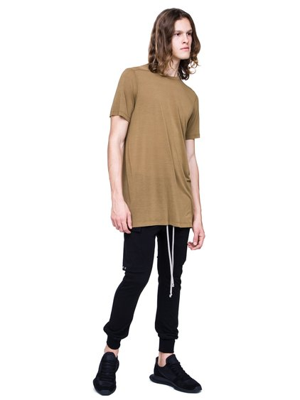 RICK OWENS SS19 BABEL LEVEL TEE IN MUSTARD GREEN VISCOSE SILK JERSEY