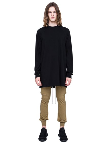 RICK OWENS SS19 BABEL BASEBALL SWEATSHIRT IN BLACK COTTON JERSEY