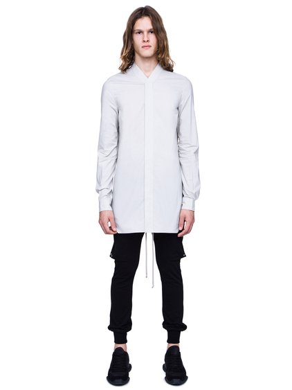 RICK OWENS SS19 BABEL FAUN SHIRT IN OYSTER LIGHT GREY