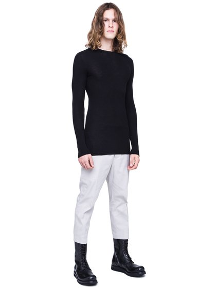 RICK OWENS SS19 BABEL RIBBED ROUND NECK SWEATER IN BLACK