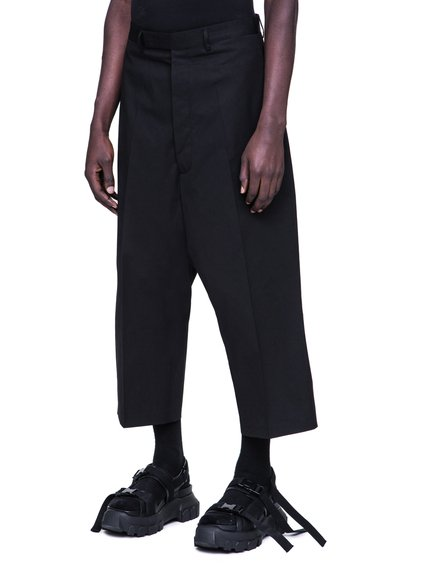 RICK OWENS SS19 BABEL KARLOFF CROPPED TROUSERS IN BLACK