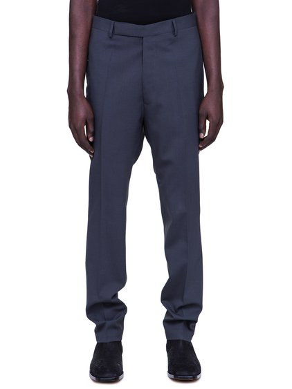 RICK OWENS SS19 BABEL SLIM LONG ASTAIRE TROUSERS IN BLUJAY BLUE