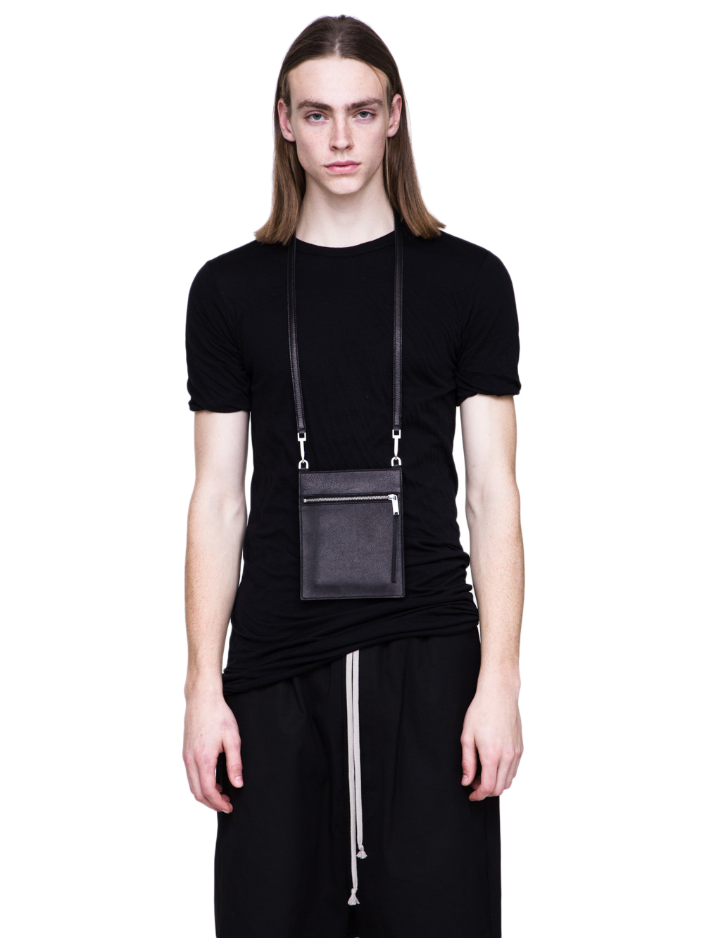 RICK OWENS SS19 BABEL SECURITY POCKET IN BLACK LEATHER