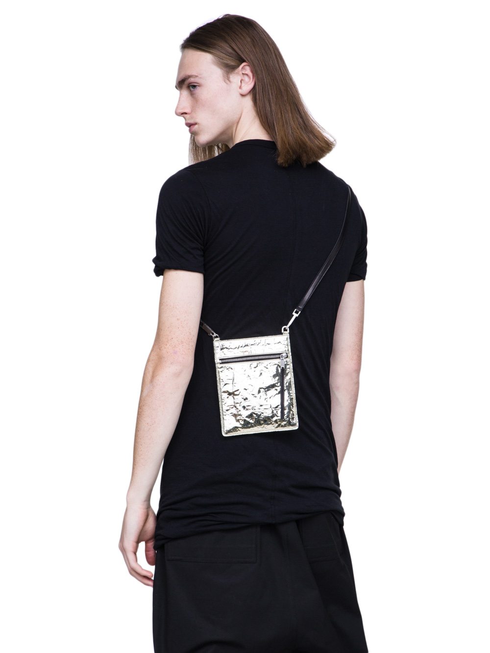 RICK OWENS SS19 BABEL SECURITY POCKET IN GOLD LEATHER