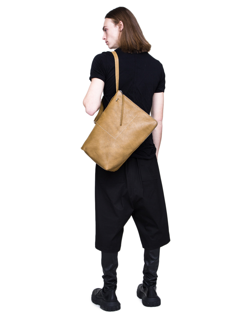All	RICK OWENS SS19 BABEL BUCKET BAG IN MUSTARD GREEN BUFFALO LEATHER