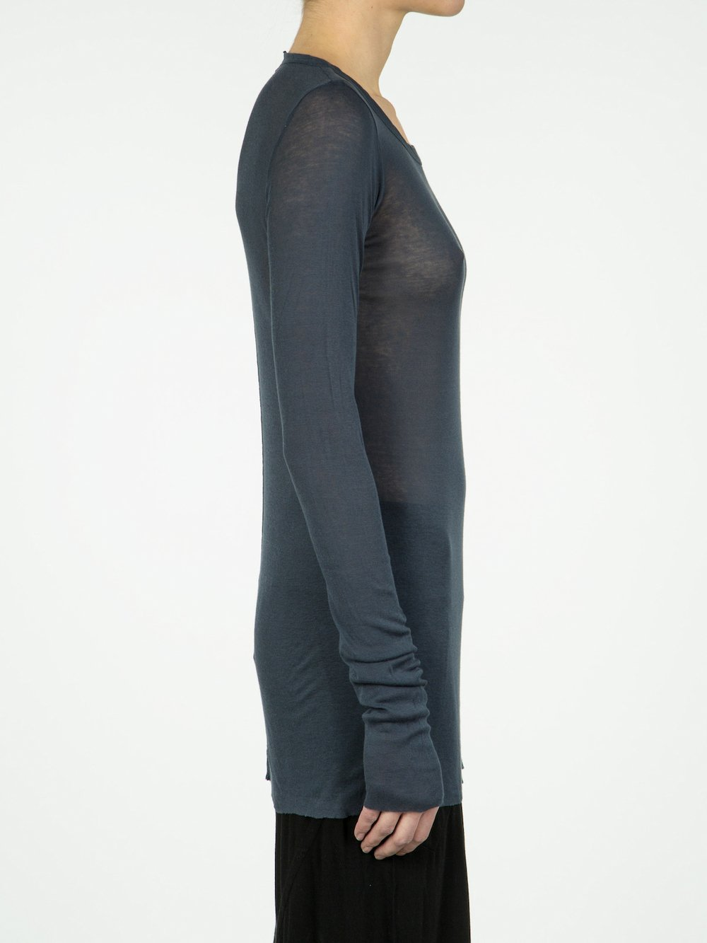 RICK OWENS - LONG SLEEVE RIB TEE